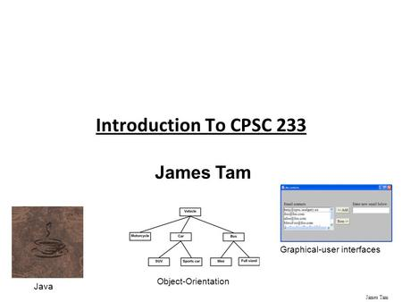 James Tam Introduction To CPSC 233 James Tam Java Object-Orientation Graphical-user interfaces.