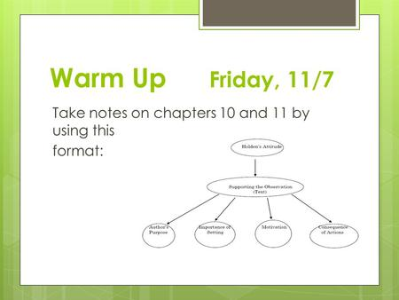 Warm Up Friday, 11/7 Take notes on chapters 10 and 11 by using this format:
