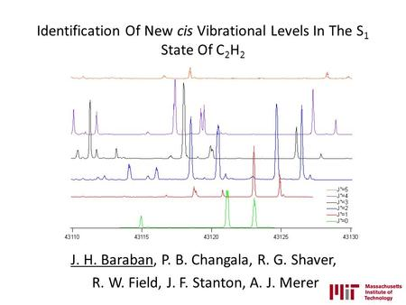 Identification Of New cis Vibrational Levels In The S 1 State Of C 2 H 2 J. H. Baraban, P. B. Changala, R. G. Shaver, R. W. Field, J. F. Stanton, A. J.