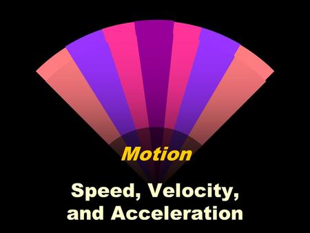 Motion Speed, Velocity, and Acceleration Frames of Reference w The object or point from which movement is determined w Movement is relative to an object.