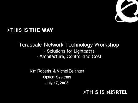 Terascale Network Technology Workshop - Solutions for Lightpaths - Architecture, Control and Cost Kim Roberts, & Michel Belanger Optical Systems July 17,