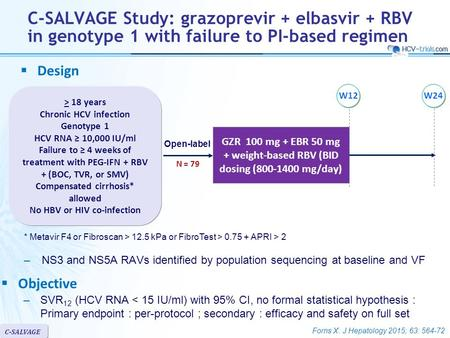 Forns X. J Hepatology 2015; 63: 564-72 C-SALVAGE Study: grazoprevir + elbasvir + RBV in genotype 1 with failure to PI-based regimen –NS3 and NS5A RAVs.