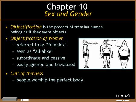 "( 1 of 12 ) Objectification is the process of treating human beings as if they were objects Objectification of Women –referred to as ""females"" –seen as."