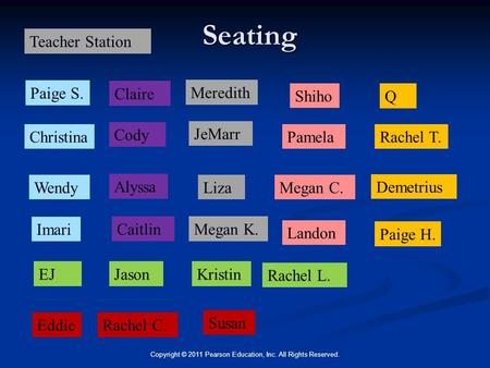 Seating Copyright © 2011 Pearson Education, Inc. All Rights Reserved. Megan K. JeMarr Eddie Susan Shiho Caitlin Megan C. Rachel T. Paige H. KristinEJ Wendy.