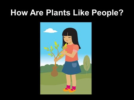 How Are Plants Like People?. Can You Guess What Both Need In This Picture?