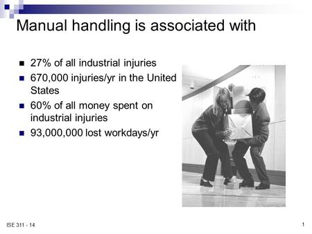 1 ISE 311 - 14 Manual handling is associated with 27% of all industrial injuries 670,000 injuries/yr in the United States 60% of all money spent on industrial.