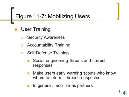 1 Figure 11-7: Mobilizing Users User Training  Security Awareness  Accountability Training  Self-Defense Training Social engineering threats and correct.