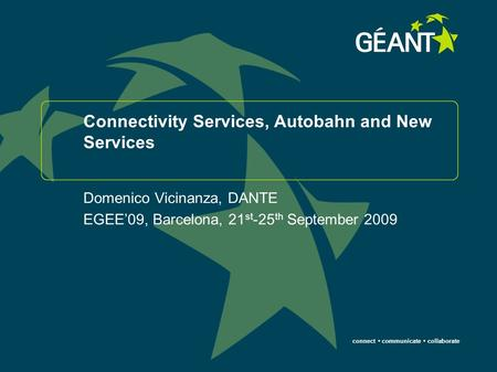 Connect communicate collaborate Connectivity Services, Autobahn and New Services Domenico Vicinanza, DANTE EGEE'09, Barcelona, 21 st -25 th September 2009.