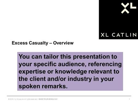 Excess Casualty – Overview 1© 2015, XL Group plc. All rights reserved. I MAKE YOUR WORLD GO You can tailor this presentation to your specific audience,