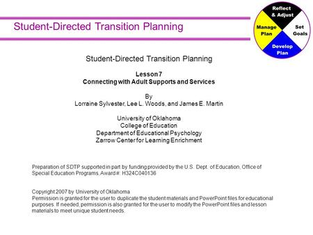 Student-Directed Transition Planning Lesson 7 Connecting with Adult Supports and Services By Lorraine Sylvester, Lee L. Woods, and James E. Martin University.