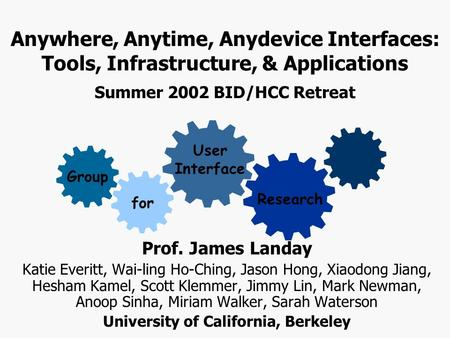 Anywhere, Anytime, Anydevice Interfaces: Tools, Infrastructure, & Applications Summer 2002 BID/HCC Retreat for User Interface Research Group Prof. James.