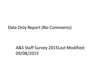 Data Only Report (No Comments) A&S Staff Survey 2015Last Modified: 09/08/2015.