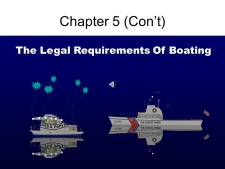 1 Chapter 5 (Con't) The Legal Requirements Of Boating.