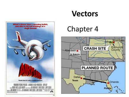 Chapter 4 Vectors. Plane traveling at 80 km/hr Cross Wind of 60 km/hr Houston Memphis Flying Airplanes Requires an Understanding of Vectors.