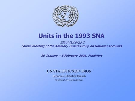 Units in the 1993 SNA SNA/M1.06/25.2 Fourth meeting of the Advisory Expert Group on National Accounts 30 January – 8 February 2006, Frankfurt UN STATISTICS.
