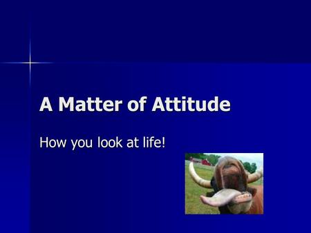 A Matter of Attitude How you look at life!.
