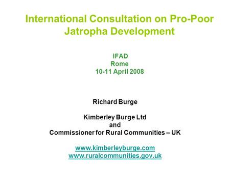 International Consultation on Pro-Poor Jatropha Development IFAD Rome 10-11 April 2008 Richard Burge Kimberley Burge Ltd and Commissioner for Rural Communities.