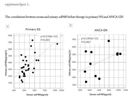 [b] ANCA-GN [a] Primary NS ρ=0.576(n=32) P=0.001 ρ=0.245(n=11) P=0.467 supplement figure 1. The correlations between serum and urinary suPAR before therapy.