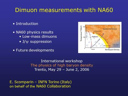 Dimuon measurements with NA60 Introduction NA60 physics results Low-mass dimuons J/  suppression Future developments International workshop The physics.