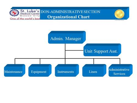 Admin. Manager Maintenance Unit Support Asst. Administrative Services EquipmentInstrumentsLinen DON-ADMINISTRATIVE SECTION Organizational Chart.