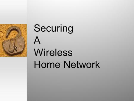 Securing A Wireless Home Network. Simple home wired LAN.