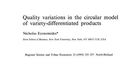 An extension to Salop's model Focused on variety differentiation: consumers differ on the most preferred variety Expands it to include quality differentiation: