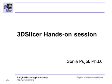 Surgical Planning Laboratory  -1- Brigham and Women's Hospital 3DSlicer Hands-on session Sonia Pujol, Ph.D.