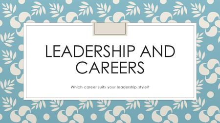 LEADERSHIP AND CAREERS Which career suits your leadership style?