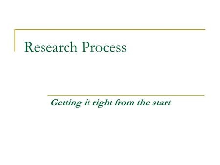 Research Process Getting it right from the start.