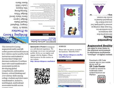 SURVEY Please take our survey to receive the handouts. THANK YOU!  earchDaySurvey This interactive (using augmented reality.