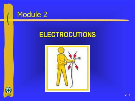 ©2008 2 - 1 Module 2 ELECTROCUTIONS. ©2008 2 - 2 What You Will Learn ►Important facts about electricity ►Important terms relating to electricity ►OSHA.