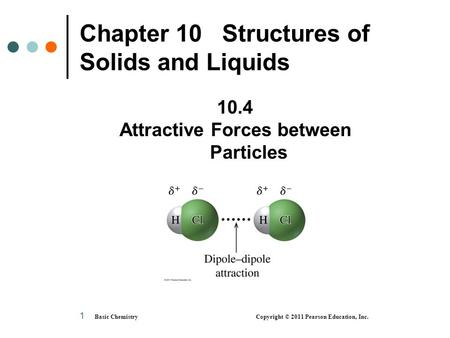 Basic Chemistry Copyright © 2011 Pearson Education, Inc. 1 Chapter 10 Structures of Solids and Liquids 10.4 Attractive Forces between Particles.