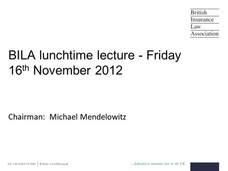 BILA lunchtime lecture - Friday 16 th November 2012 Chairman: Michael Mendelowitz.