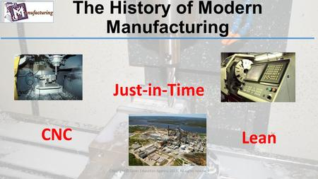 The History of Modern Manufacturing Copyright © Texas Education Agency, 2015. All rights reserved.