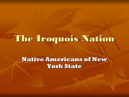 The Iroquois Nation Native Americans of New York State.