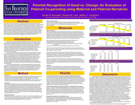 ResultsAbstract Method s Parental Recognition of Good vs. Change: An Evaluation of Paternal Co-parenting using Maternal and Paternal Narratives Sarah R.