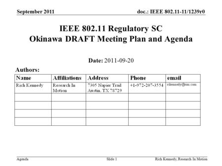 Doc.: IEEE 802.11-11/1239r0 Agenda September 2011 Rich Kennedy, Research In MotionSlide 1 IEEE 802.11 Regulatory SC Okinawa DRAFT Meeting Plan and Agenda.