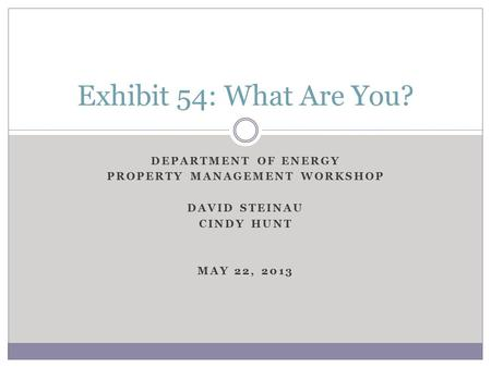DEPARTMENT OF ENERGY PROPERTY MANAGEMENT WORKSHOP DAVID STEINAU CINDY HUNT MAY 22, 2013 Exhibit 54: What Are You?