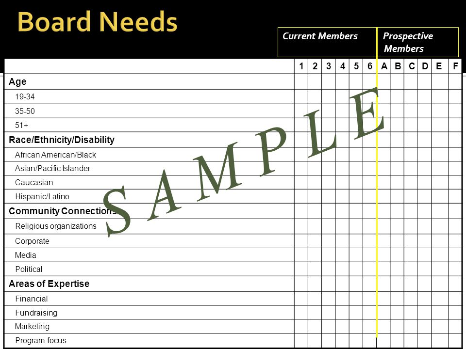To the organization:  History  Programs  Pressing issues  Finances  Facilities  Structure (organization chart) To the board:  Committee structure  Board member responsibilities  List of board members and key staff  Bylaws  Recent minutes