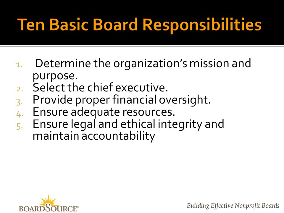 Ensure effective organizational planning.7.