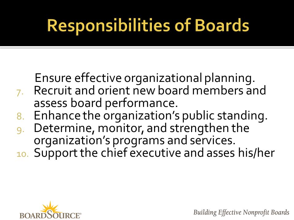 I.Board/Staff Partnership Ingredients of an Effective Partnership Governance v.