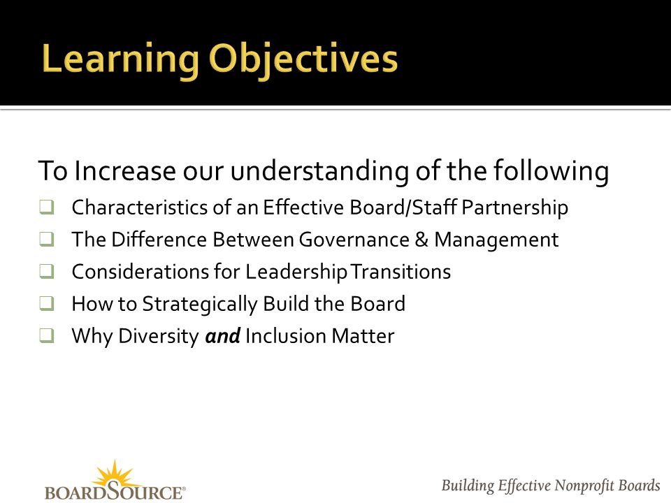 Elements of an Effective Partnership Governance vs. Management Leadership Transitions