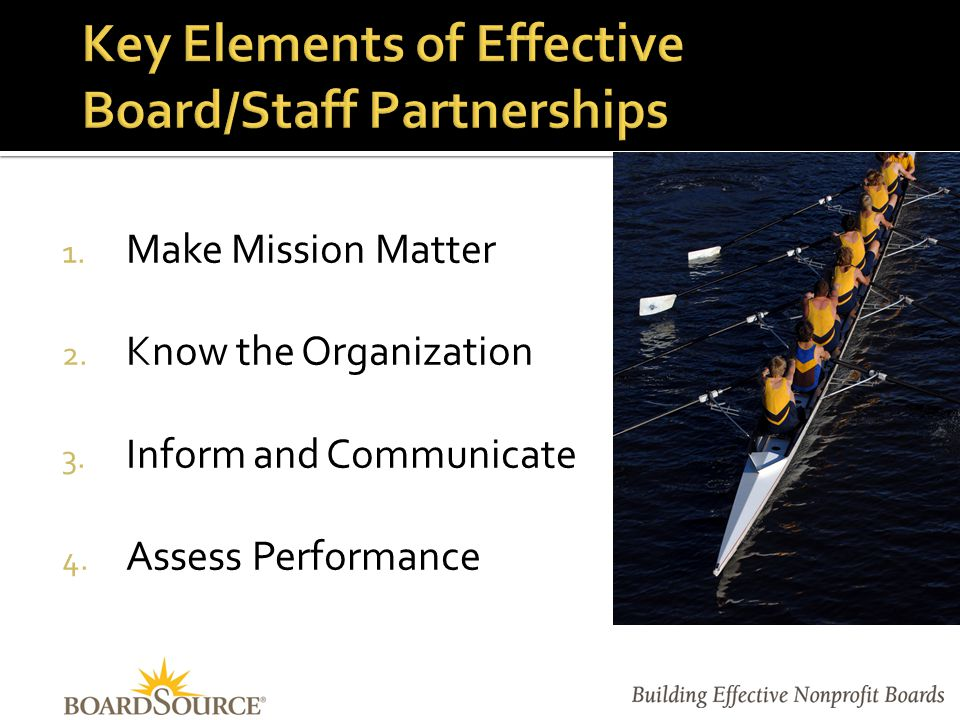 Establish expectations:  Communication styles  Frequency of reporting and meetings  Functions where the chair is expected to participate  Shared and individual priorities