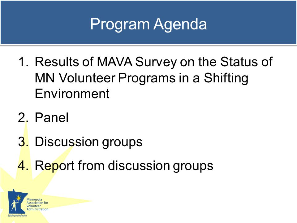 Change in who is volunteering 37% More inquiries from students and interns 31% More inquiries from Boomers 31% More inquiries from young adults 31% More inquiries from retirees 28% More inquiries from job seekers The Status of Minnesota's Volunteer Programs in a Shifting Environment http://www.mavanetwork.org/shiftingenvhttp://www.mavanetwork.org/shiftingenv MAVA Shifting Environment Survey