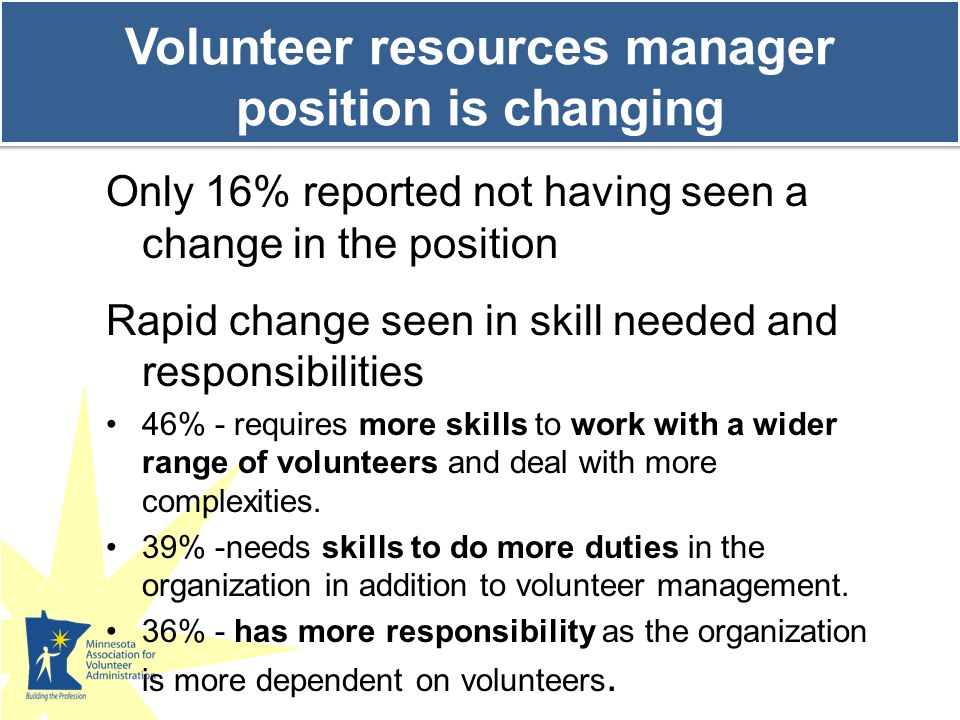 Looking to the future, more changes predicted We need to adapt to changing volunteer populations and commitments--it will require a paradigm shift in the way we view our volunteer model.