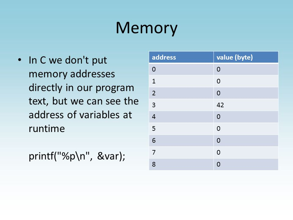 Memory is on the stack or heap In Java, you get heap memory with new and the rest of variables are on the stack – This doesn t matter to you as the programmer In C, you get heap memory with malloc and you give it back with free Match your mallocs with frees or you will leak memory