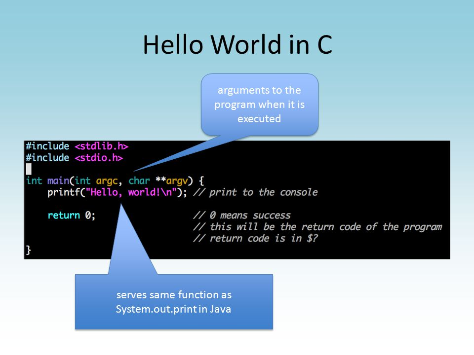 Compiling helloworld