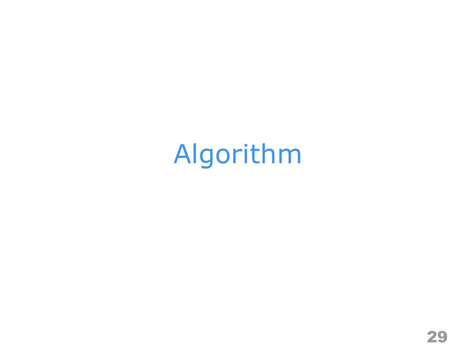Algorithm Specification –a finite set of instructions that accomplishes a particular task –criteria input: zero or more quantities that are externally supplied output: at least one quantity is produced definiteness: clear and unambiguous finiteness: terminate after a finite number of steps effectiveness: instruction is basic enough to be carried out Representation –a natural language, like English or Chinese –a graphic, like flowcharts –a computer language, like C 30