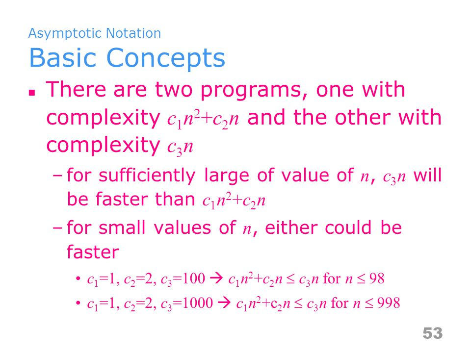 Asymptotic Notation O, ,  O [big oh''] –f(n)=O(g(n)) iff there exist positive constants c and n 0 such that f(n)  cg(n) for all n, n  n 0 –upper bound, worst case  [big omega] –f(n) =  (g(n)) (read as f of n is big omega of g of n ) iff there exist positive constants c and n 0 such that f(n)  cg(n) for all n, n  n 0 –lower bound, best case  [big theta] –f(n) =  (g(n)) iff there exist positive constants c 1, c 2, and n 0 such that c 1 g(n)  f(n)  c 2 g(n) for all n, n  n 0 –upper and lower bound Notice that relationship between analyses and notations.