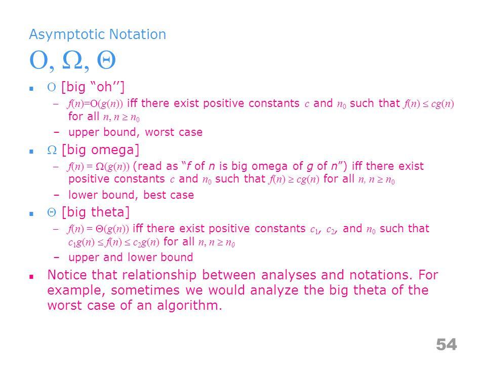 Asymptotic Notation Theorems If f(n) = a m n m +…+a 1 n+a 0, then f(n) = O(n m ) If f(n) = a m n m +…+a 1 n+a 0 and a m > 0, then f(n) = Ω(n m ) If f(n) = a m n m +…+a 1 n+a 0 and a m > 0, then f(n) = Θ(n m ) Examples –f(n) = 3n+2 3n+2  4n, for all n  2, ∴ 3n+2 = O(n) 3n+2  3n, for all n  1, ∴ 3n+2 = Ω(n) 3n  3n+2  4n, for all n  2, ∴ 3n+2 = Θ (n) –f(n) = 10n 2 +4n+2 10n 2 +4n+2  11n 2, for all n  5, ∴ 10n 2 +4n+2 = O(n 2 ) 10n 2 +4n+2  n 2, for all n  1, ∴ 10n 2 +4n+2 = Ω(n 2 ) n 2  10n 2 +4n+2  11n 2, for all n  5, ∴ 10n 2 +4n+2 = Θ(n 2 ) –10n 2 +4n+2 = O(n 2 )// 10n 2 +4n+2  11n 2 for n  5 –6*2 n +n 2 = O(2 n )// 6*2 n +n 2  7*2 n for n  4 55